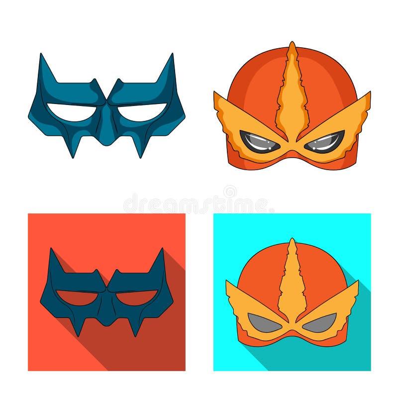 Vektorillustration des Held- und Maskensymbols Satz des Held- und Superheldaktiensymbols für Netz vektor abbildung