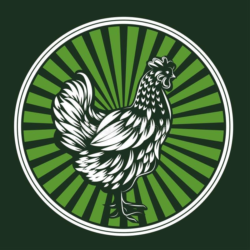 Vektorillustration des Huhns Weiße Henne Logoillustration stock abbildung