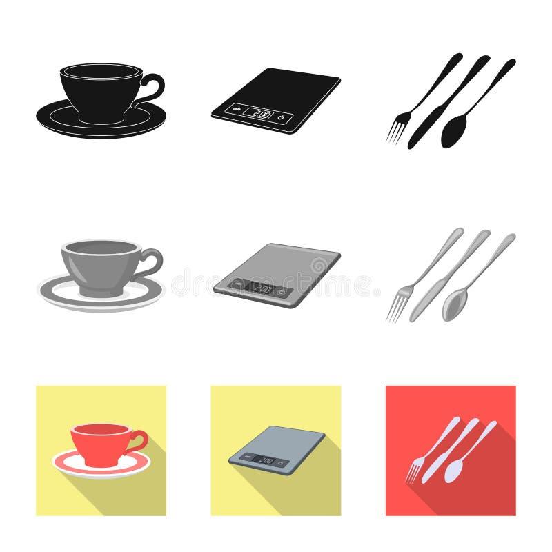 Vektorillustration des K?chen- und Kochzeichens Sammlung Vektorillustration der K?che und des Ger?tes der auf Lager stock abbildung