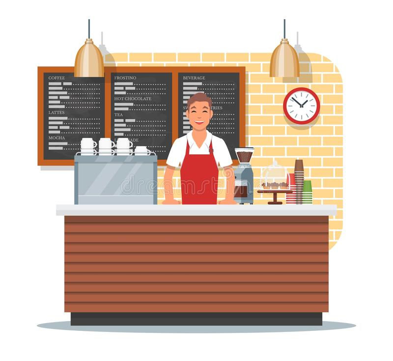 Vektorillustration des Kaffeestubedesigns mit barista, flache Art lizenzfreie abbildung