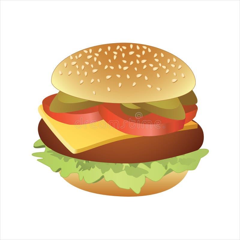 Vektorillustration des klassischen Cheeseburgers stockbilder