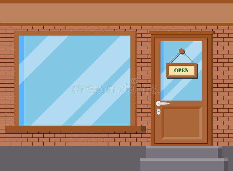 Vektorillustration des klassischen Geschäftsboutiquengebäude-Frontspeichers mit Glasfenstern stock abbildung