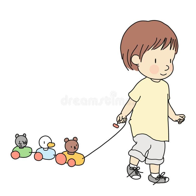 Vektorillustration des kleinen Kleinkindes bunten hölzernen Tierzug entlang Zugspielzeug ziehend Frühe Entwicklung des Kindess-Tä lizenzfreie abbildung