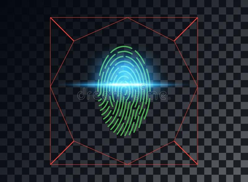 Vektorillustration des Konzeptes der Überprüfung eines Fingerabdruckes, der blaue Lichteffekt Lasers Vektorelement lokalisiert au vektor abbildung