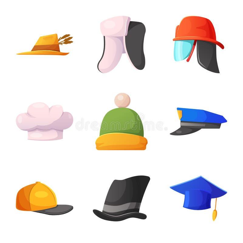 Vektorillustration des Kopfbedeckungs- und Kappenzeichens Sammlung Vektorillustration der Kopfbedeckung und des Zusatzes der auf  vektor abbildung