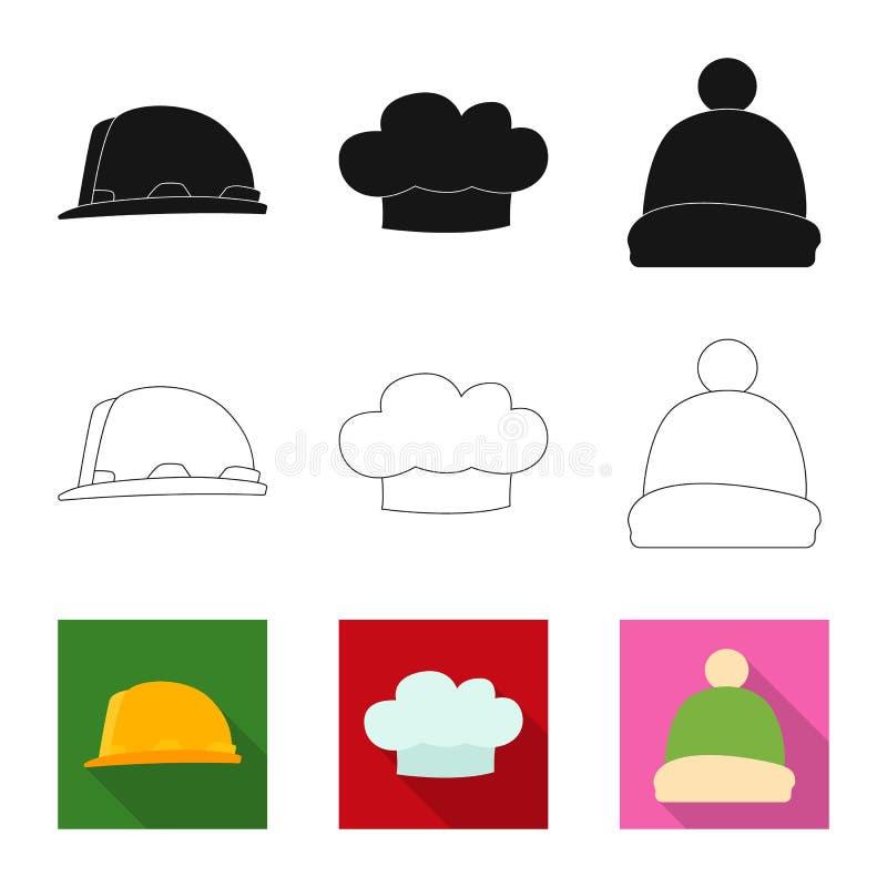 Vektorillustration des Kopfbedeckungs- und Kappenzeichens Sammlung der Kopfbedeckungs- und Zusatzvektorikone für Vorrat stock abbildung