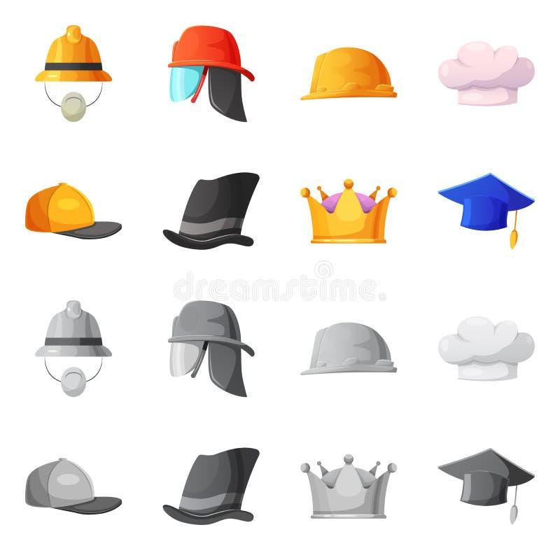 Vektorillustration des Kopfbedeckungs- und Kappenzeichens Sammlung des Kopfbedeckungs- und Zusatzaktiensymbols für Netz vektor abbildung