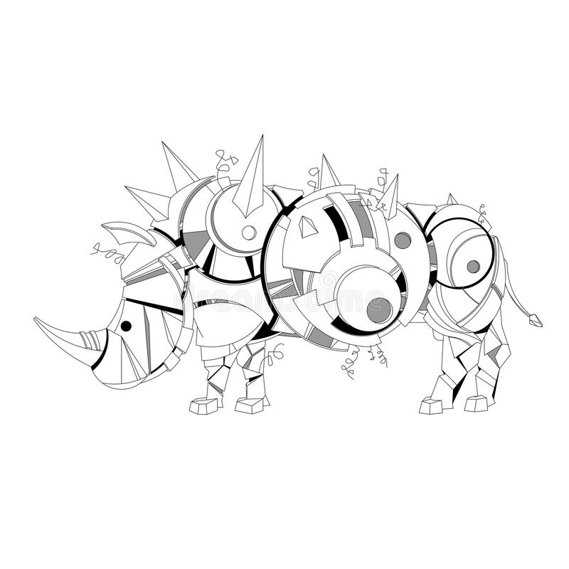 Vektorillustration des kreative Hand gezeichneten steampunk grafischen Schablonennashorns, zentangle, Malbuch, mehcanical Tier vektor abbildung