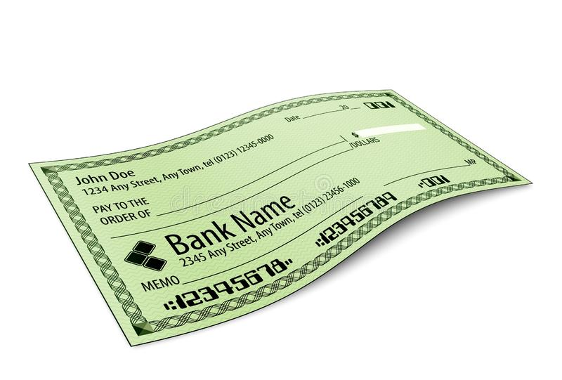 Vektorillustration des leeren Bankschecks mit Schatten lizenzfreie abbildung