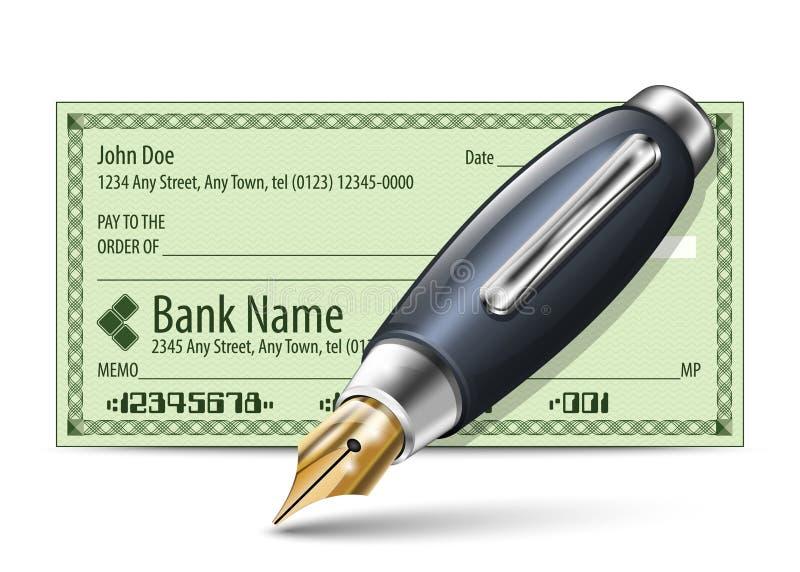 Vektorillustration des leeren Bankschecks und des F?llfederhalters stock abbildung