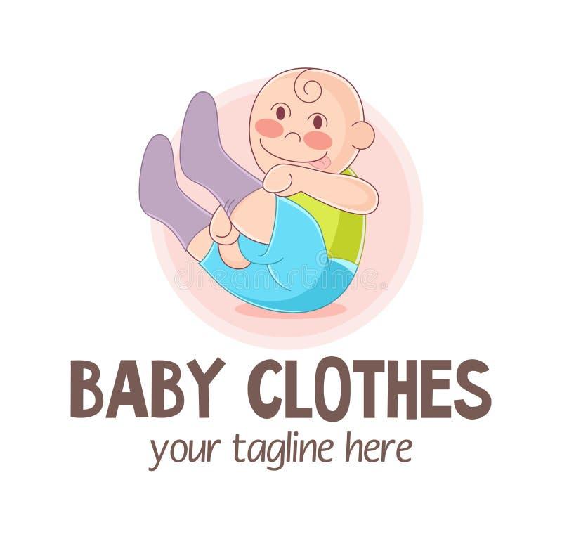 Vektorillustration des lustigen unabhängigen Kindes, das auf Socken sich setzt Baby kleidet Logo Kindergeschäftmaskottchen Entwur lizenzfreie abbildung