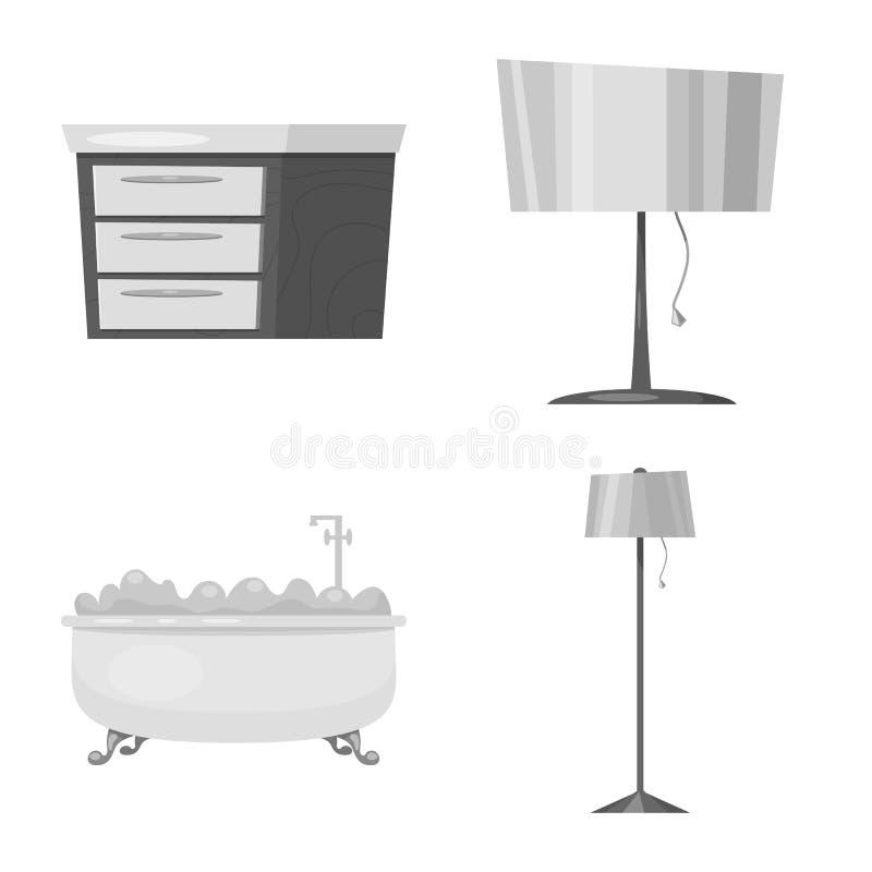 Vektorillustration des Möbel- und Wohnungslogos Satz von Möbeln und von Hauptvektorillustration auf Lager stock abbildung