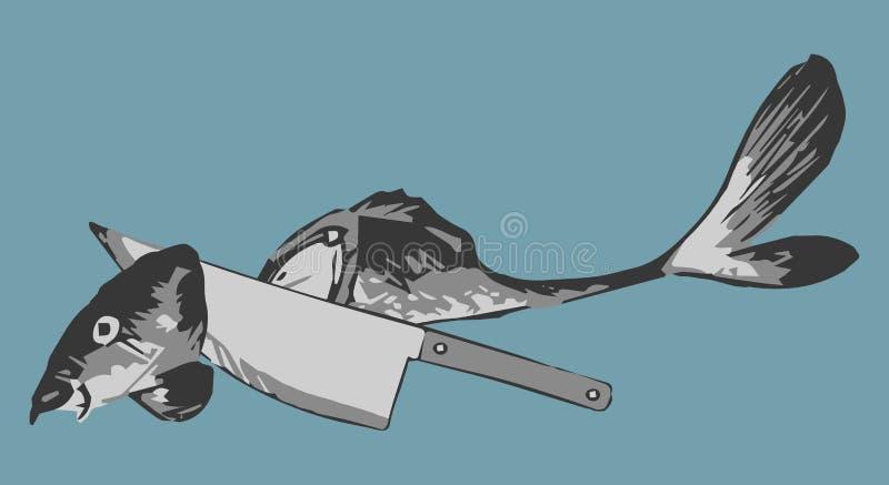 Vektorillustration des Messers und der geschnittenen Fische auf blauem Hintergrund stock abbildung