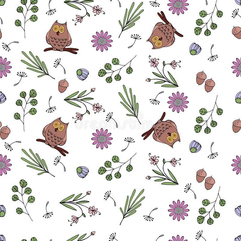 Vektorillustration des Musters mit Blumen, Blätter, Eulen stock abbildung