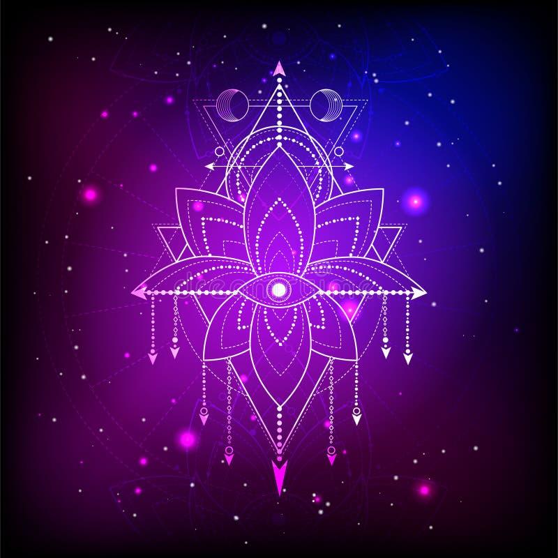 Vektorillustration des mystischen Symbols Lotus auf abstraktem Hintergrund Geometrisches Zeichen gezeichnet in Linien blaue und r lizenzfreie abbildung