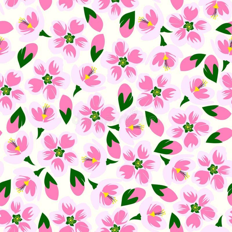 Vektorillustration des nahtlosen Blütenmusters stock abbildung