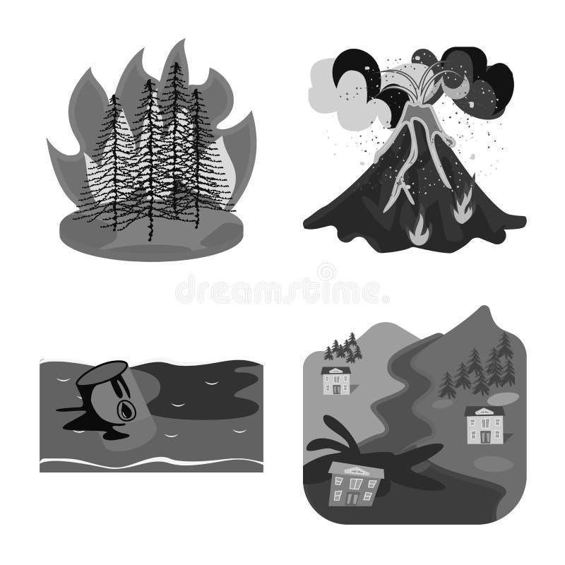 Vektorillustration des Natur- und Apocalypsesymbols Stellen Sie vom Natur- und Umweltaktiensymbol f?r Netz ein lizenzfreie abbildung