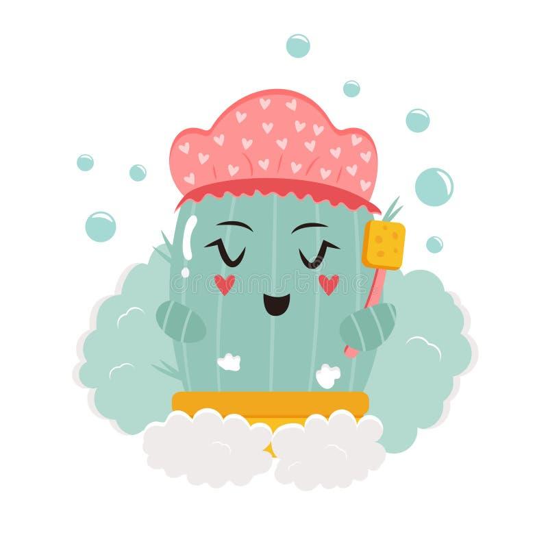 Vektorillustration des netten Kaktus Dusche nehmend lizenzfreie abbildung