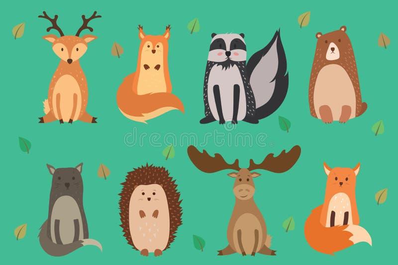 Vektorillustration des netten Tierherbstes: Ren, Eichhörnchen, Waschbär, Bär, Wildkatze, Igeles, Elch, Fuchs Vektor lizenzfreie abbildung