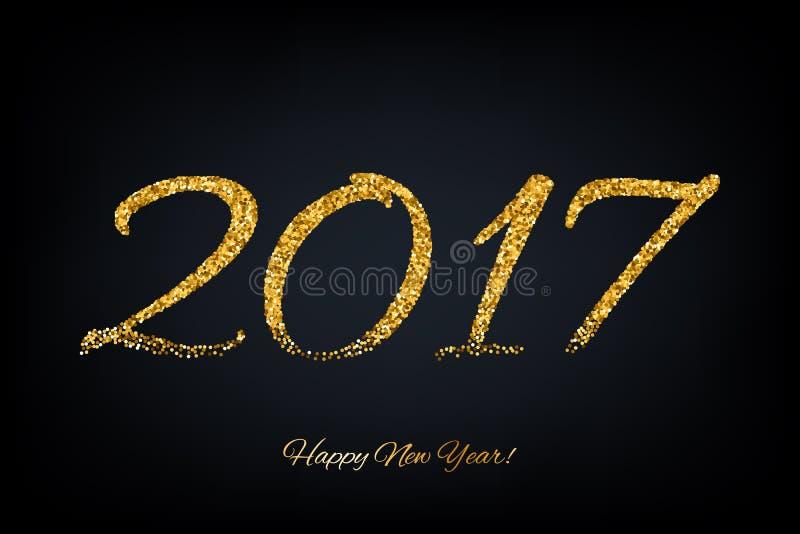 Vektorillustration des neuen Jahres des goldenen Glühens 2017 vektor abbildung