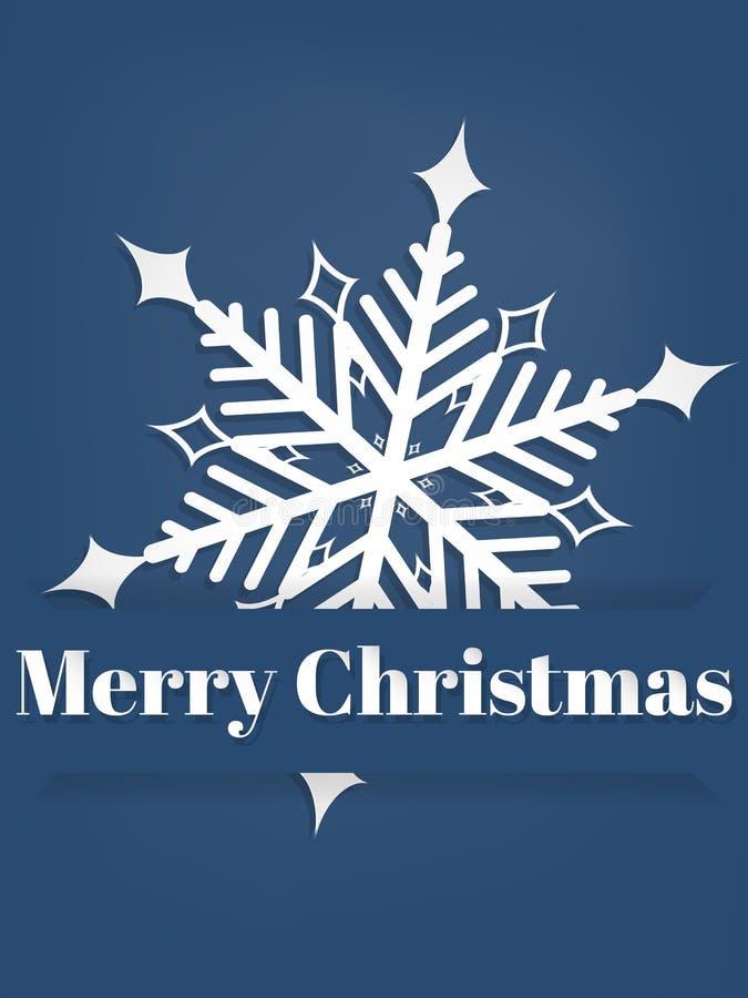 Vektorillustration des Papierkunstschnitzens der Schneeflocke unter Text der frohen Weihnachten im Wei? auf blauem Hintergrund vektor abbildung