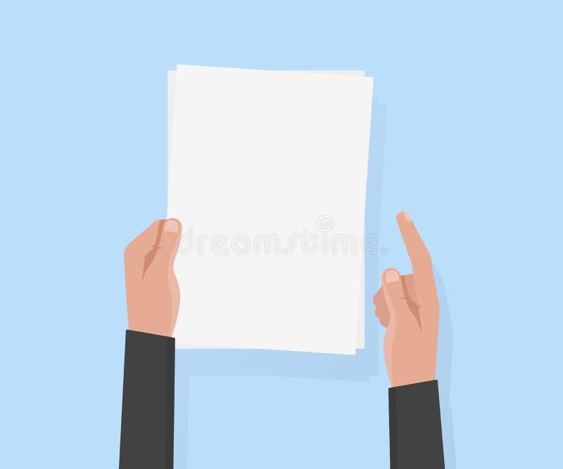 Vektorillustration des Papiers a4 des Handgriffs leere vektor abbildung