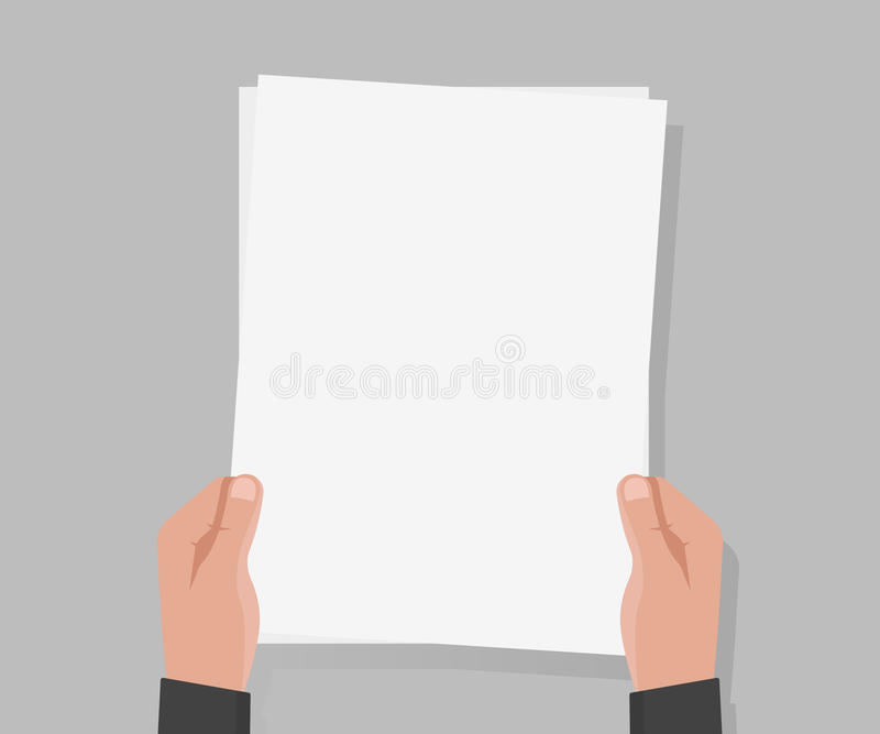 Vektorillustration des Papiers a4 des Handgriffs leere stock abbildung