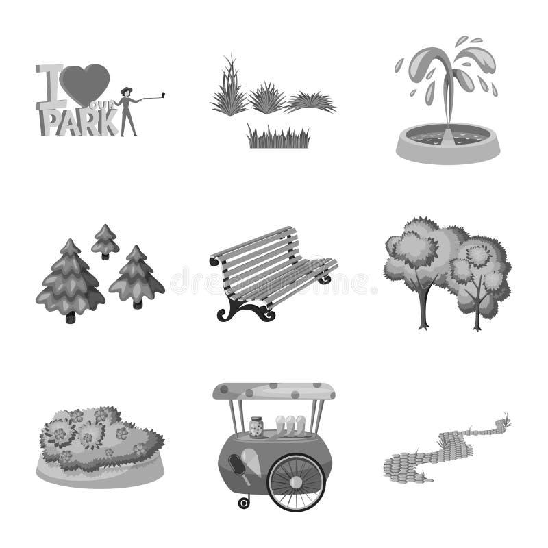 Vektorillustration des Park- und Stadtzeichens Sammlung der Park- und Stra?envorratvektorillustration lizenzfreie abbildung