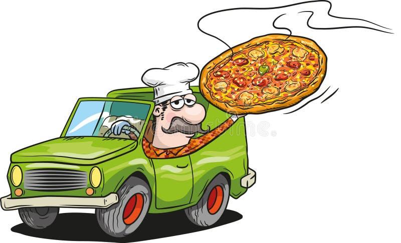 Pizzalieferung lizenzfreie abbildung