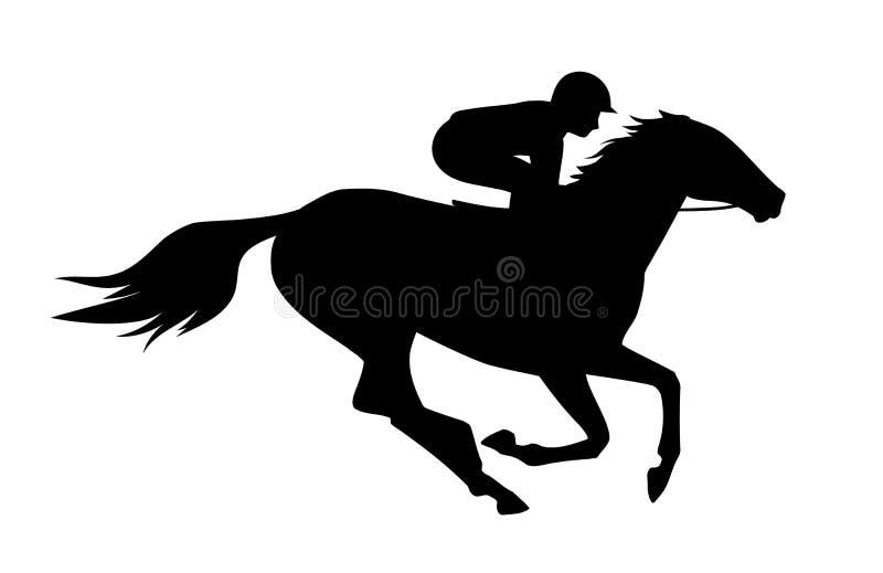 Vektorillustration des Rennpferds mit Jockey Schwarzes lokalisiertes Schattenbild auf weißem Hintergrund Reiterwettbewerbslogo lizenzfreie abbildung