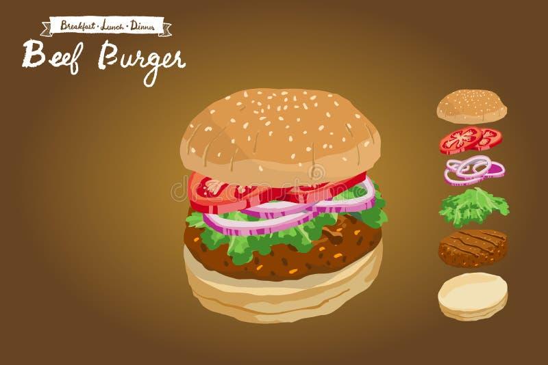 Vektorillustration des Rindfleischburgers mit geschnittenen Tomaten, Schalotten und Kopfsalat stockfoto