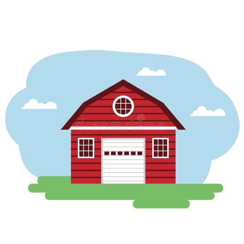 Vektorillustration des roten Wirtschaftsgebäudes lizenzfreie abbildung