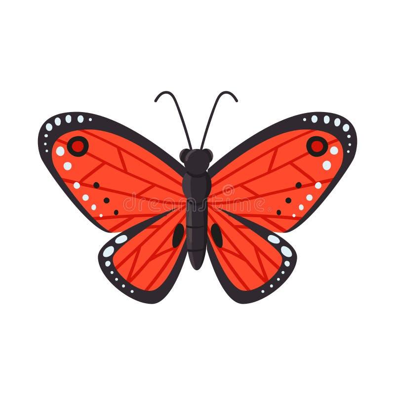 Vektorillustration des Schmetterlinges und des roten Symbols Stellen Sie vom Schmetterlings- und Speziesaktiensymbol für Netz ein stock abbildung