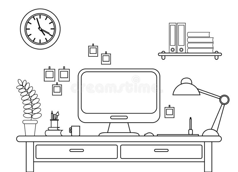 Vektorillustration des Schreibtisches mit einem Computer Arbeitsplatz im Büro oder zu Hause Linie Art auf weißem Hintergrund vektor abbildung