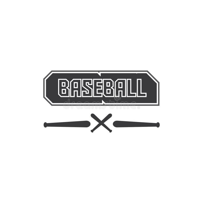 Vektorillustration des schwarzen Logotextes des Baseballs im Schwarzen und Illustration eines Baseballstockes stock abbildung