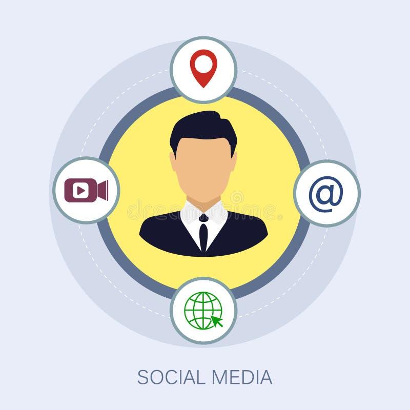 Vektorillustration des Social Media, das Netzkonzeptsocial media-Netznetz und -kommunikation vermarktet lizenzfreie abbildung