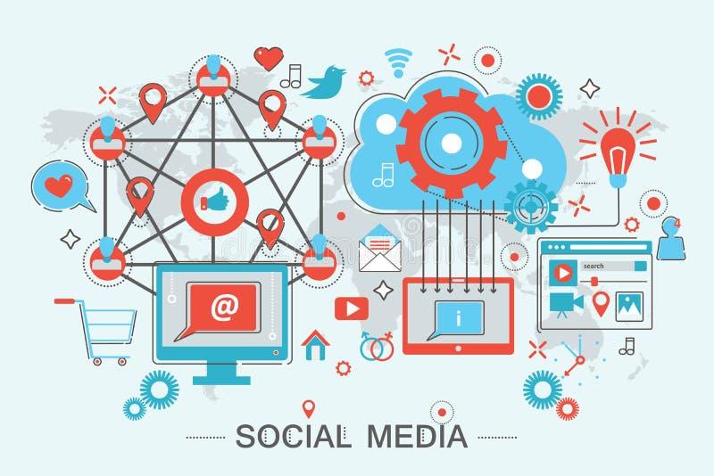 Vektorillustration des Sozialen Netzes und des Social Media lizenzfreie abbildung