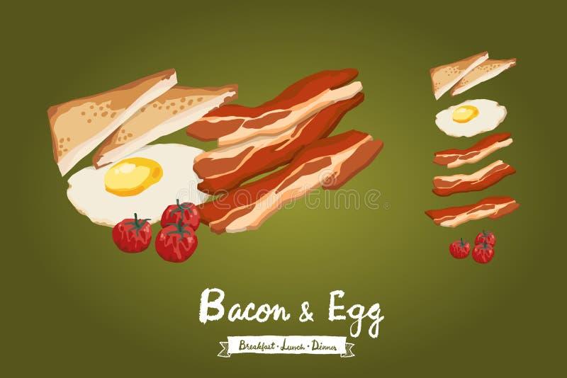 Vektorillustration des Speckes, des Spiegeleies, des Toastbrotes und der Tomaten lizenzfreies stockbild