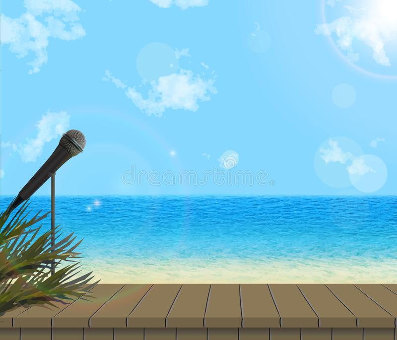 Vektorillustration des Stadiums durch Meer stock abbildung