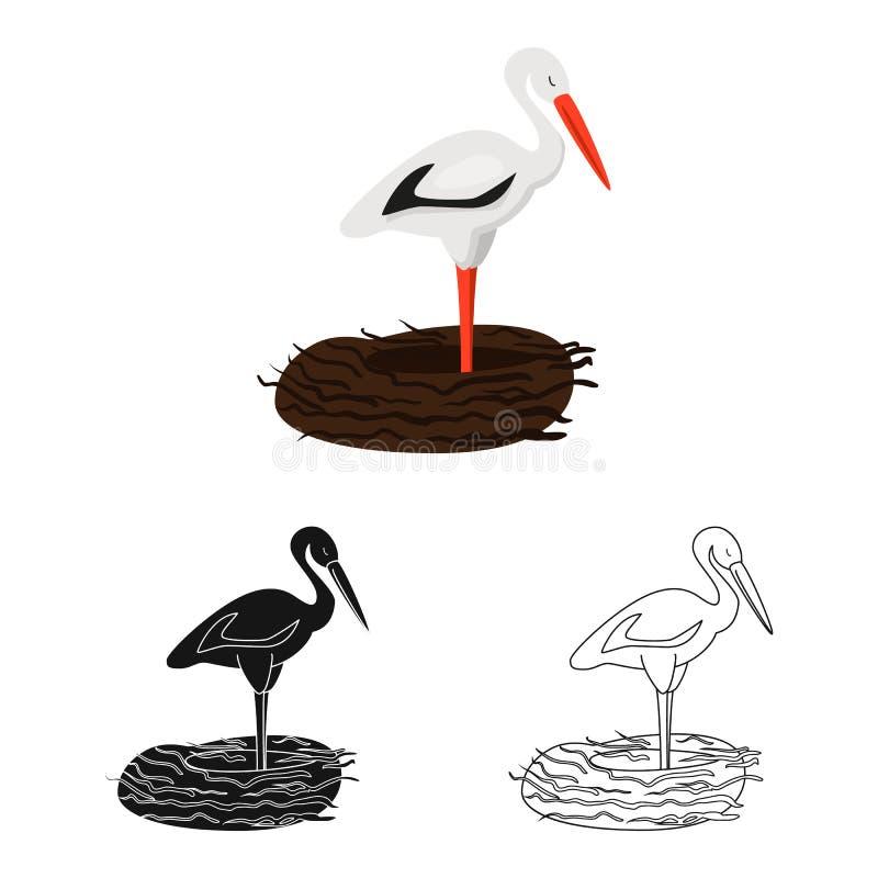 Vektorillustration des Storch- und Vogelzeichens Sammlung des Storchs und der fliegenden Vektorillustration auf Lager stock abbildung