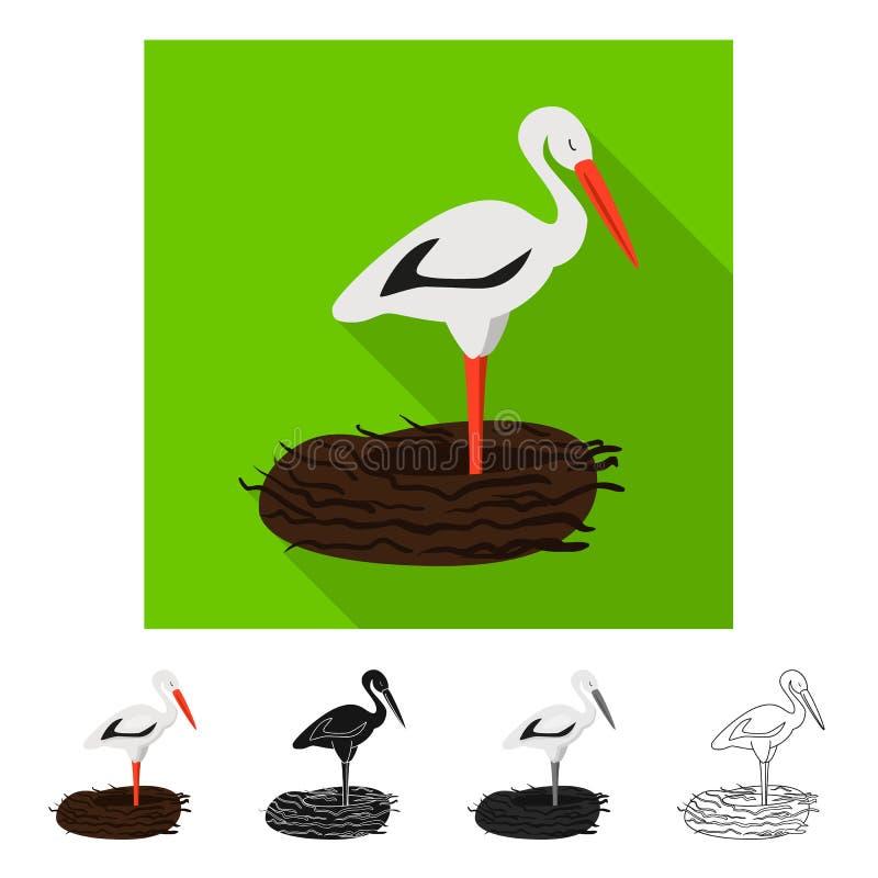 Vektorillustration des Storch- und Vogelzeichens Stellen Sie vom Storch und von fliegendem Aktiensymbol f?r Netz ein stock abbildung