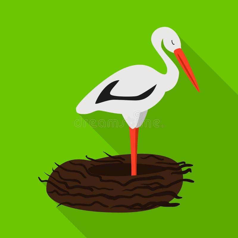 Vektorillustration des Storch- und Vogelzeichens Stellen Sie vom Storch und von fliegender Vektorillustration auf Lager ein vektor abbildung