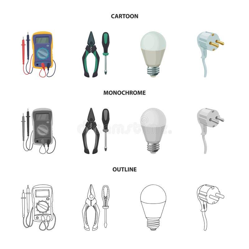 Vektorillustration des Stroms und der elektrischen Ikone Satz Vektorillustration des Stroms und der Energie der auf Lager stock abbildung