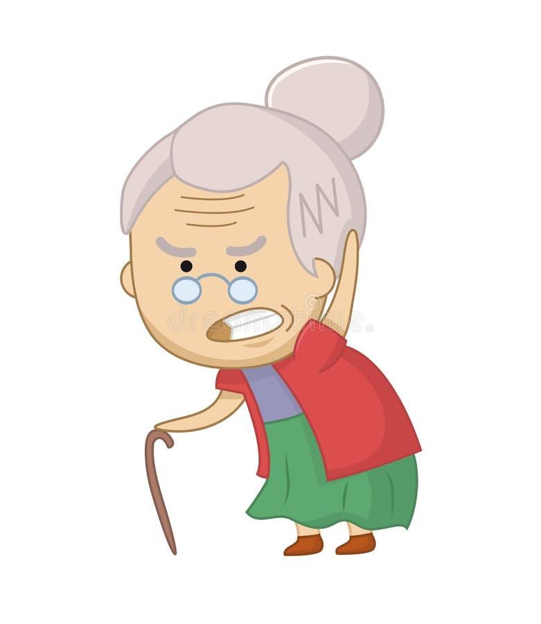 Vektorillustration des verärgerten Charakters der alten Frau Lustige mürrische Großmutter Ältere chibi Frau lizenzfreie abbildung