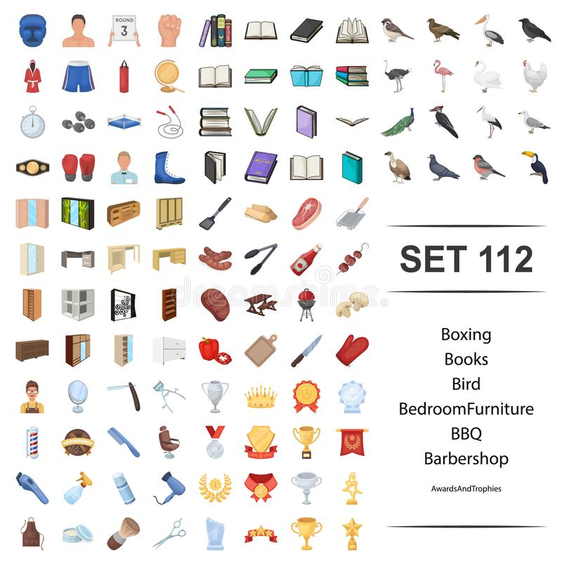 Vektorillustration des Verpackens, Buch, Vogel, Schlafzimmer, Möbel, bbq-Friseursalonpreistrophäen-Ikonensatz vektor abbildung