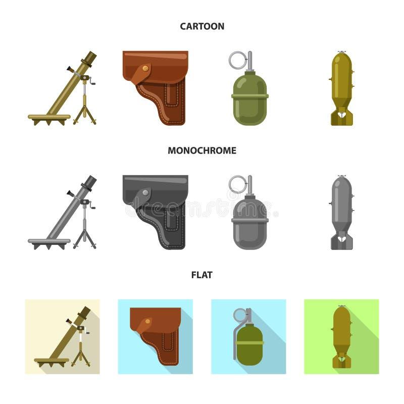 Vektorillustration des Waffen- und Gewehrsymbols Sammlung des Waffen- und Armeeaktiensymbols f?r Netz vektor abbildung