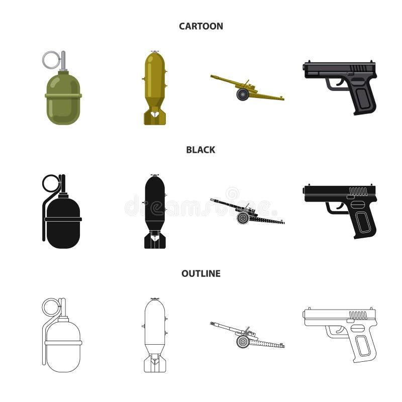 Vektorillustration des Waffen- und Gewehrzeichens Sammlung der Waffen- und Armeevektorikone f?r Vorrat stock abbildung