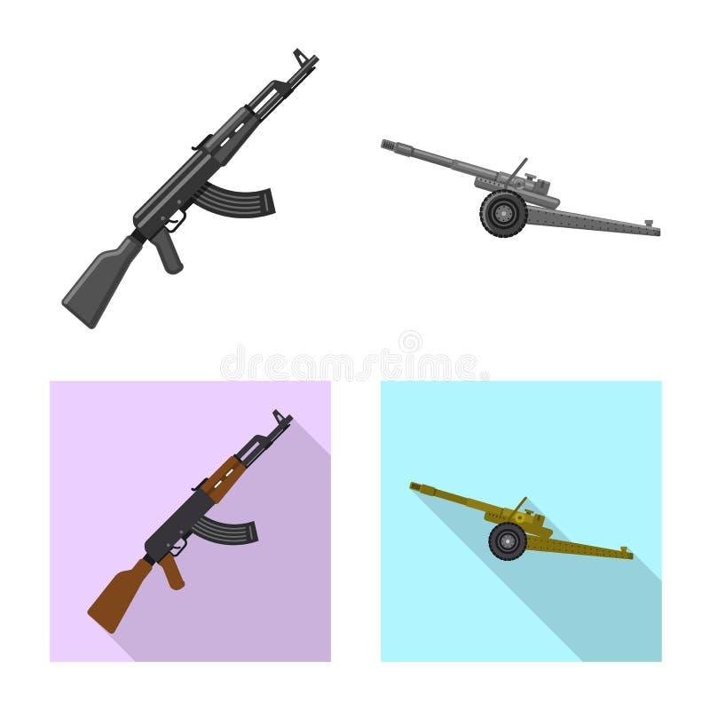 Vektorillustration des Waffen- und Gewehrzeichens Satz des Waffen- und Armeeaktiensymbols f?r Netz lizenzfreie abbildung