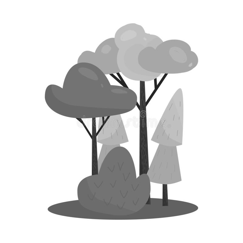 Vektorillustration des Waldes und des grünen Logos Stellen Sie von der Wald- und Kiefernvektorikone für Vorrat ein stock abbildung