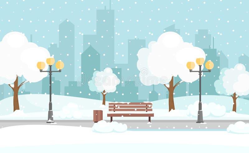 Vektorillustration des Winterstadtparks mit Schnee und großem modernem Stadthintergrund Bank im Winterstadtpark, Winter vektor abbildung